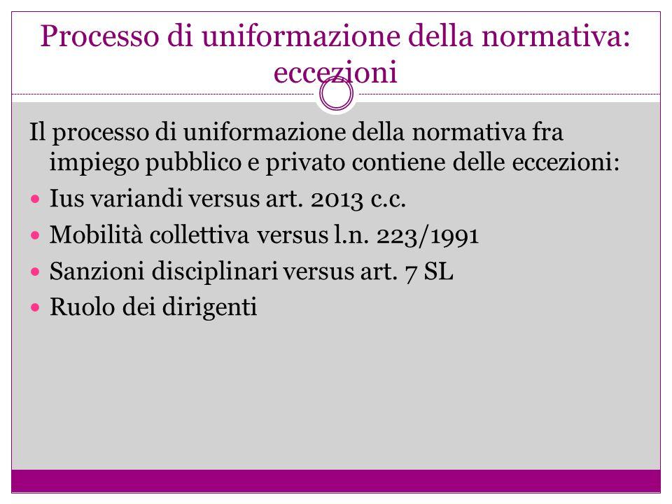 Processo di uniformazione della normativa: eccezioni Il processo di uniformazione della normativa fra impiego pubblico e privato contiene delle eccezi