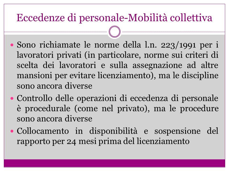 Eccedenze di personale-Mobilità collettiva Sono richiamate le norme della l.n. 223/1991 per i lavoratori privati (in particolare, norme sui criteri di