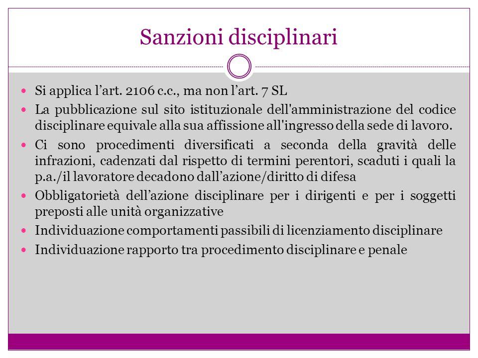 Sanzioni disciplinari Si applica l'art. 2106 c.c., ma non l'art. 7 SL La pubblicazione sul sito istituzionale dell'amministrazione del codice discipli