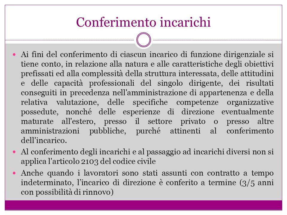 Conferimento incarichi Ai fini del conferimento di ciascun incarico di funzione dirigenziale si tiene conto, in relazione alla natura e alle caratteri