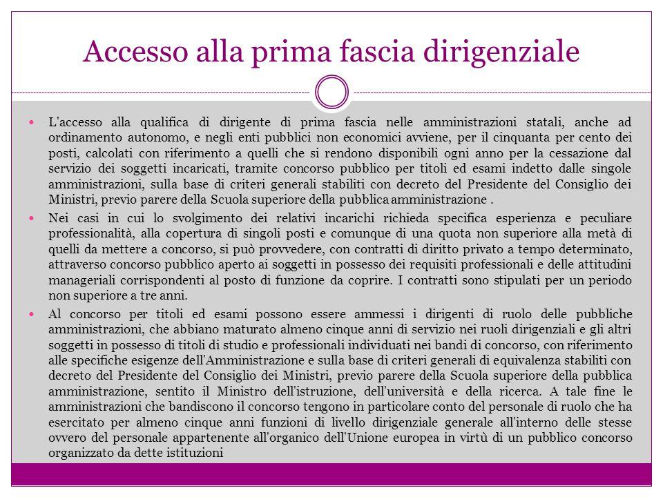 Accesso alla prima fascia dirigenziale L'accesso alla qualifica di dirigente di prima fascia nelle amministrazioni statali, anche ad ordinamento auton