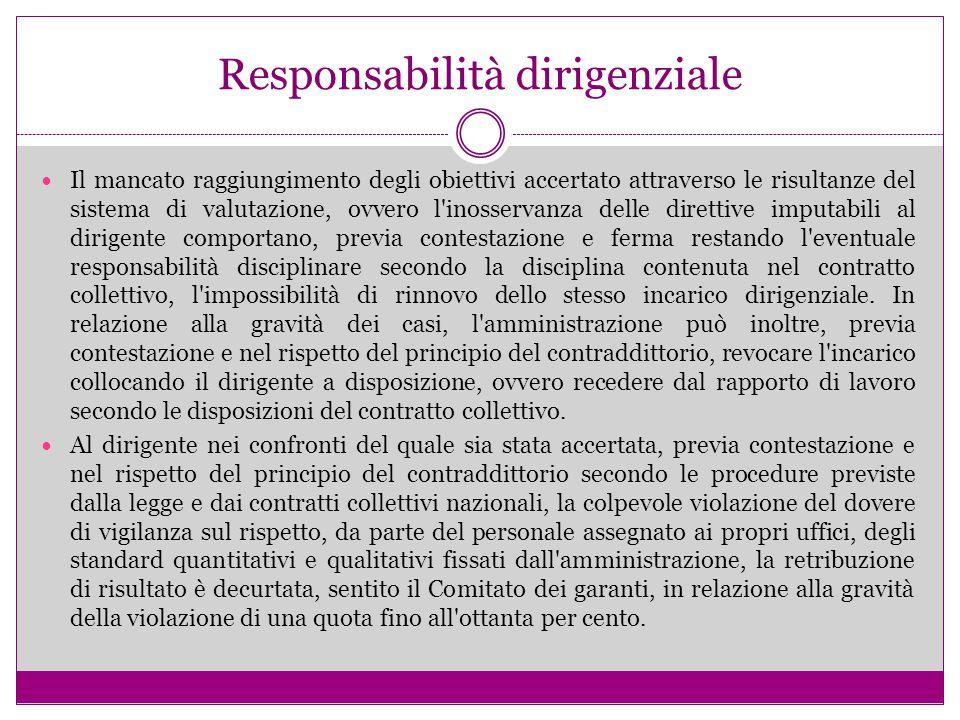 Responsabilità dirigenziale Il mancato raggiungimento degli obiettivi accertato attraverso le risultanze del sistema di valutazione, ovvero l'inosserv