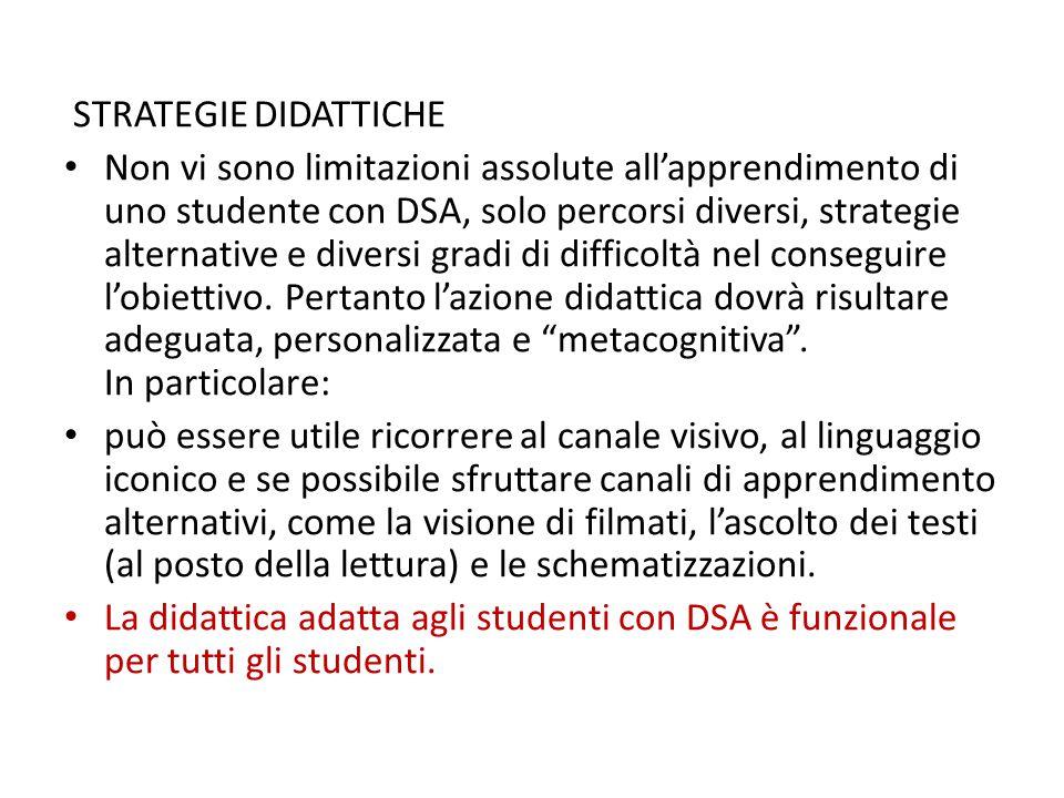 STRATEGIE DIDATTICHE Non vi sono limitazioni assolute all'apprendimento di uno studente con DSA, solo percorsi diversi, strategie alternative e divers