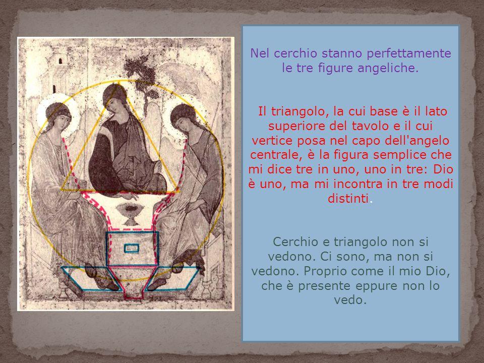 Nel cerchio stanno perfettamente le tre figure angeliche. Il triangolo, la cui base è il lato superiore del tavolo e il cui vertice posa nel capo dell