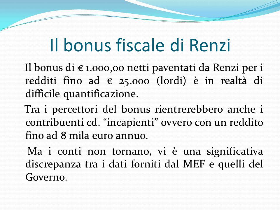 Il bonus fiscale di Renzi Il bonus di € 1.000,00 netti paventati da Renzi per i redditi fino ad € 25.000 (lordi) è in realtà di difficile quantificazione.