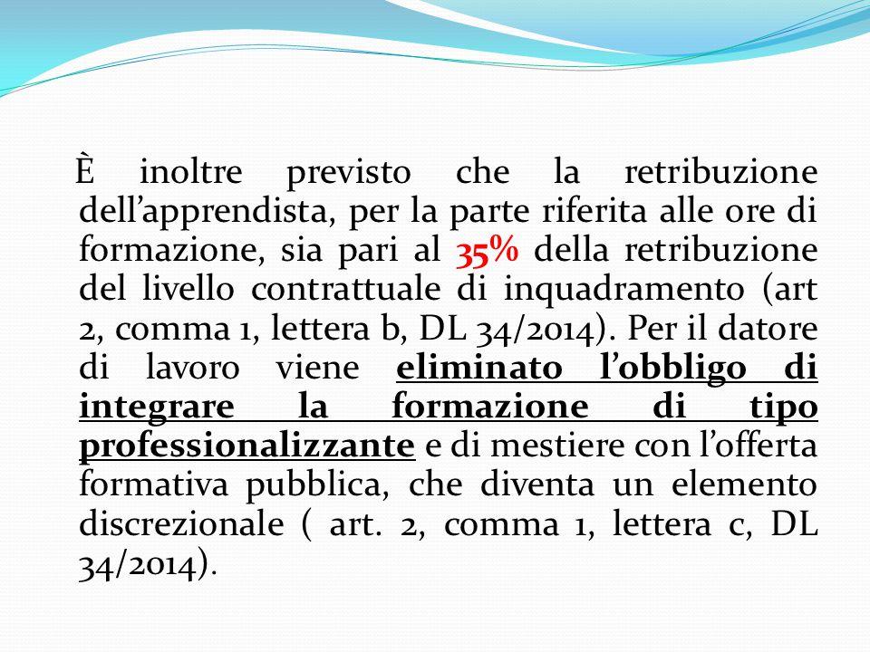 È inoltre previsto che la retribuzione dell'apprendista, per la parte riferita alle ore di formazione, sia pari al 35% della retribuzione del livello contrattuale di inquadramento (art 2, comma 1, lettera b, DL 34/2014).