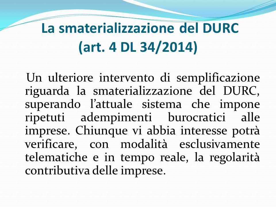La smaterializzazione del DURC (art.