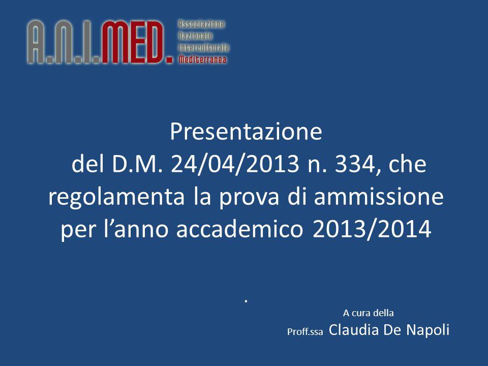 Presentazione del D.M. 24/04/2013 n.
