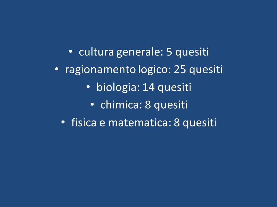 cultura generale: 5 quesiti ragionamento logico: 25 quesiti biologia: 14 quesiti chimica: 8 quesiti fisica e matematica: 8 quesiti