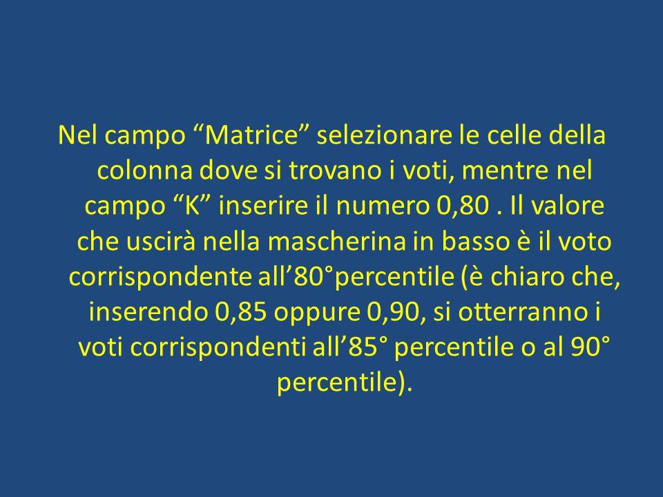 Nel campo Matrice selezionare le celle della colonna dove si trovano i voti, mentre nel campo K inserire il numero 0,80.