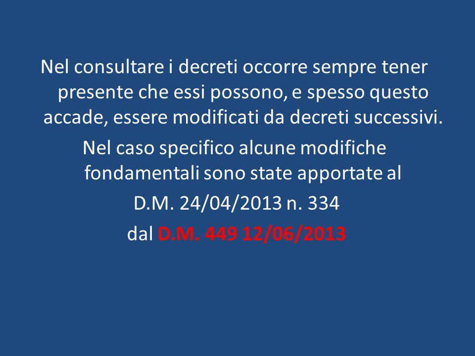 Nel consultare i decreti occorre sempre tener presente che essi possono, e spesso questo accade, essere modificati da decreti successivi.