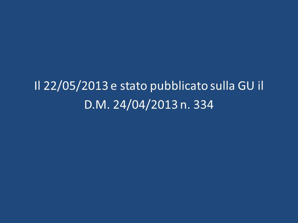 Il 22/05/2013 e stato pubblicato sulla GU il D.M. 24/04/2013 n. 334