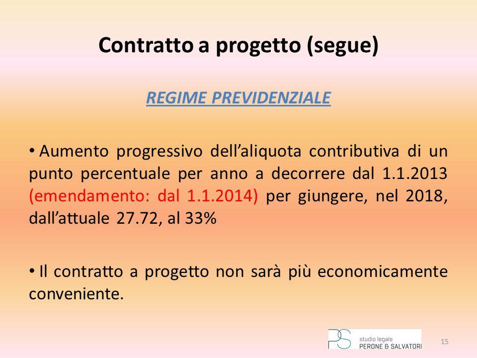 Contratto a progetto (segue) REGIME PREVIDENZIALE Aumento progressivo dell'aliquota contributiva di un punto percentuale per anno a decorrere dal 1.1.