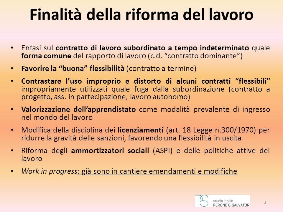 """Finalità della riforma del lavoro Enfasi sul contratto di lavoro subordinato a tempo indeterminato quale forma comune del rapporto di lavoro (c.d. """"co"""