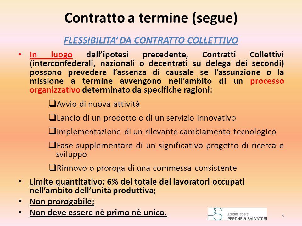 Contratto a termine (segue) FLESSIBILITA' DA CONTRATTO COLLETTIVO In luogo dell'ipotesi precedente, Contratti Collettivi (interconfederali, nazionali