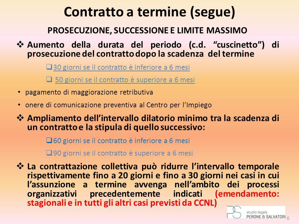 """Contratto a termine (segue) PROSECUZIONE, SUCCESSIONE E LIMITE MASSIMO  Aumento della durata del periodo (c.d. """"cuscinetto"""") di prosecuzione del cont"""