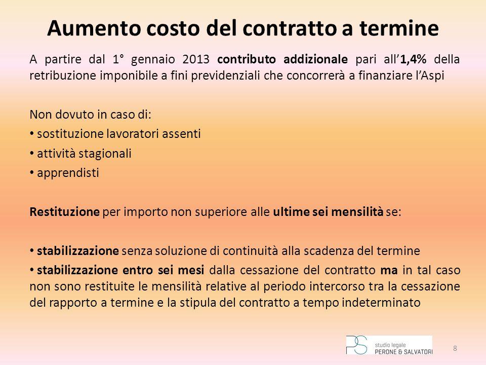 Aumento costo del contratto a termine A partire dal 1° gennaio 2013 contributo addizionale pari all'1,4% della retribuzione imponibile a fini previden