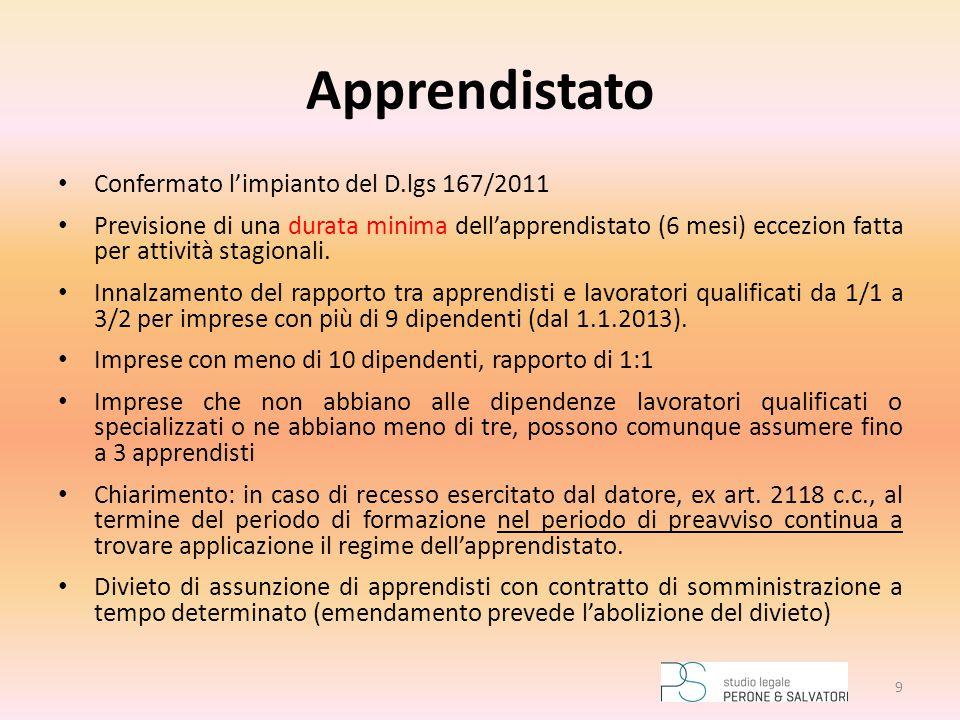 Apprendistato Confermato l'impianto del D.lgs 167/2011 Previsione di una durata minima dell'apprendistato (6 mesi) eccezion fatta per attività stagion