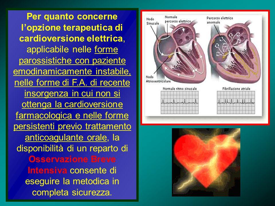 Per quanto concerne l'opzione terapeutica di cardioversione elettrica, applicabile nelle forme parossistiche con paziente emodinamicamente instabile,