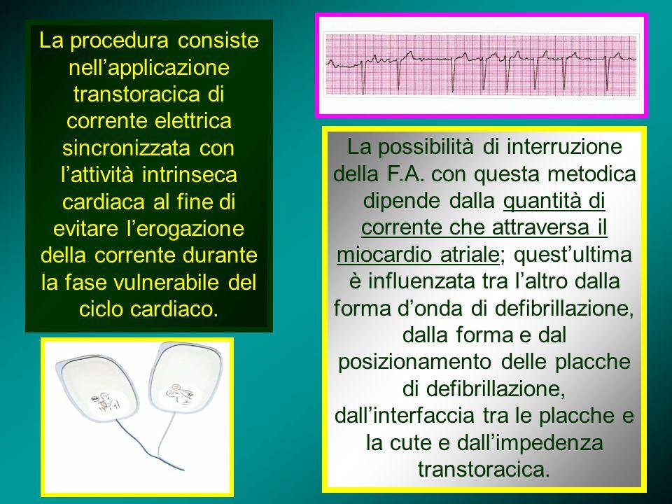 La procedura consiste nell'applicazione transtoracica di corrente elettrica sincronizzata con l'attività intrinseca cardiaca al fine di evitare l'erog