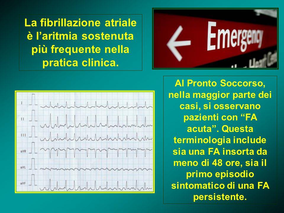 La fibrillazione atriale è l'aritmia sostenuta più frequente nella pratica clinica. Al Pronto Soccorso, nella maggior parte dei casi, si osservano paz