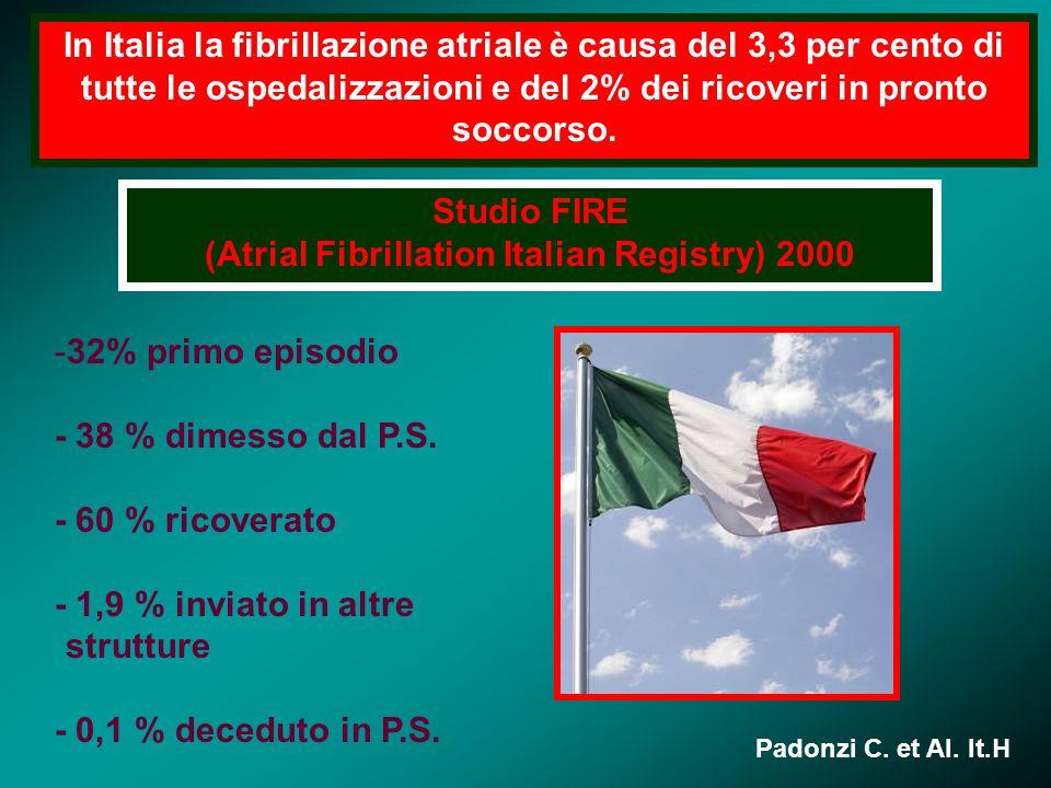 In Italia la fibrillazione atriale è causa del 3,3 per cento di tutte le ospedalizzazioni e del 2% dei ricoveri in pronto soccorso. Studio FIRE (Atria