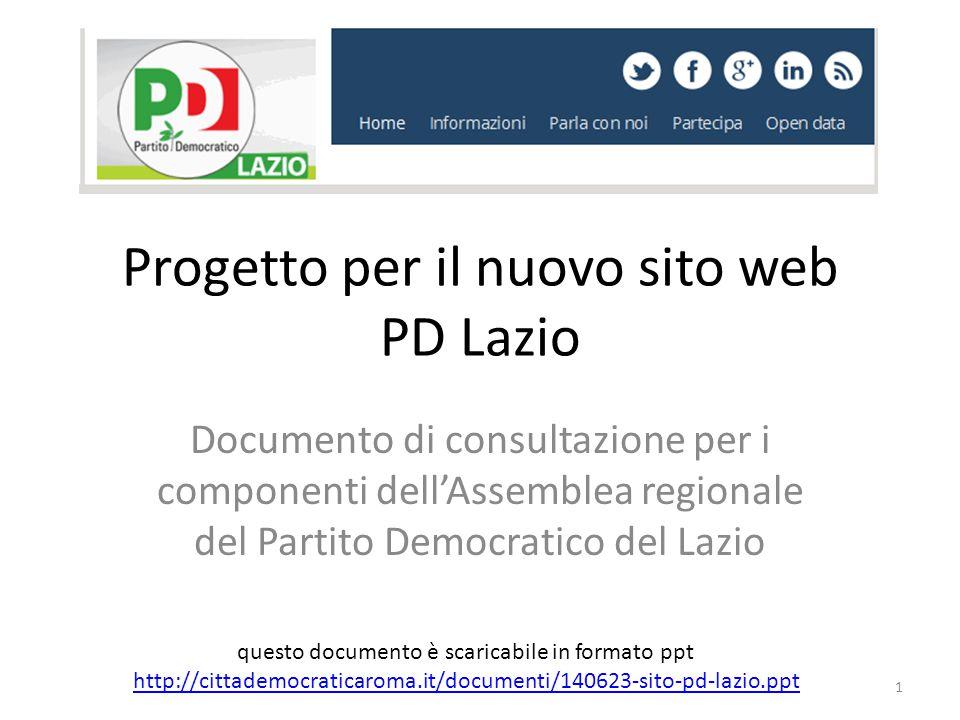 Progetto per il nuovo sito web PD Lazio Documento di consultazione per i componenti dell'Assemblea regionale del Partito Democratico del Lazio questo