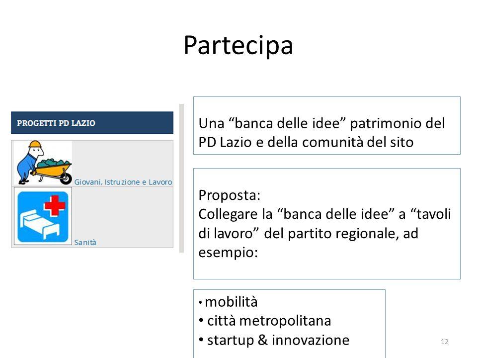 """Partecipa Una """"banca delle idee"""" patrimonio del PD Lazio e della comunità del sito Proposta: Collegare la """"banca delle idee"""" a """"tavoli di lavoro"""" del"""