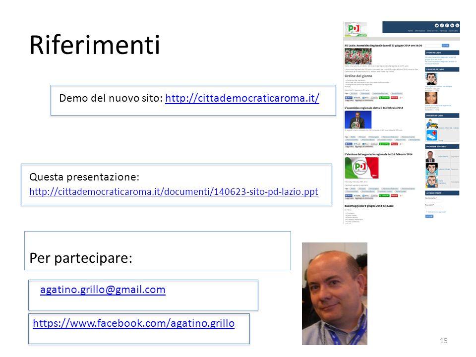 agatino.grillo@gmail.com https://www.facebook.com/agatino.grillo 15 Riferimenti Demo del nuovo sito: http://cittademocraticaroma.it/http://cittademocr