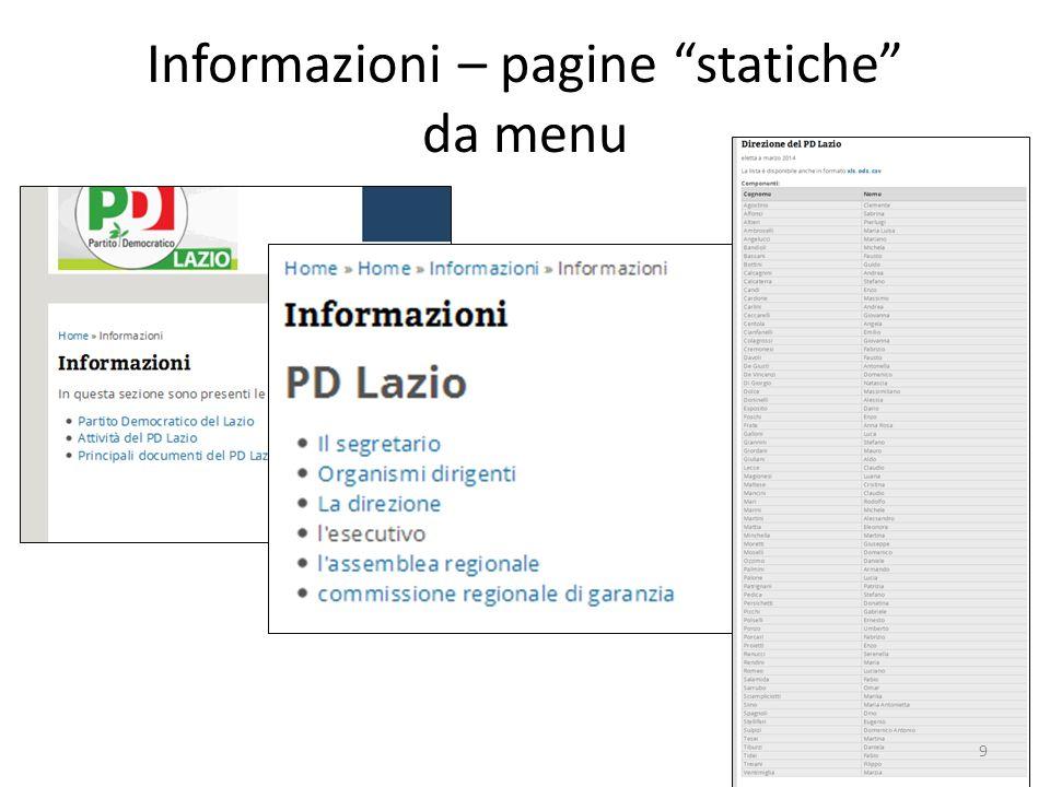 """Informazioni – pagine """"statiche"""" da menu 9"""
