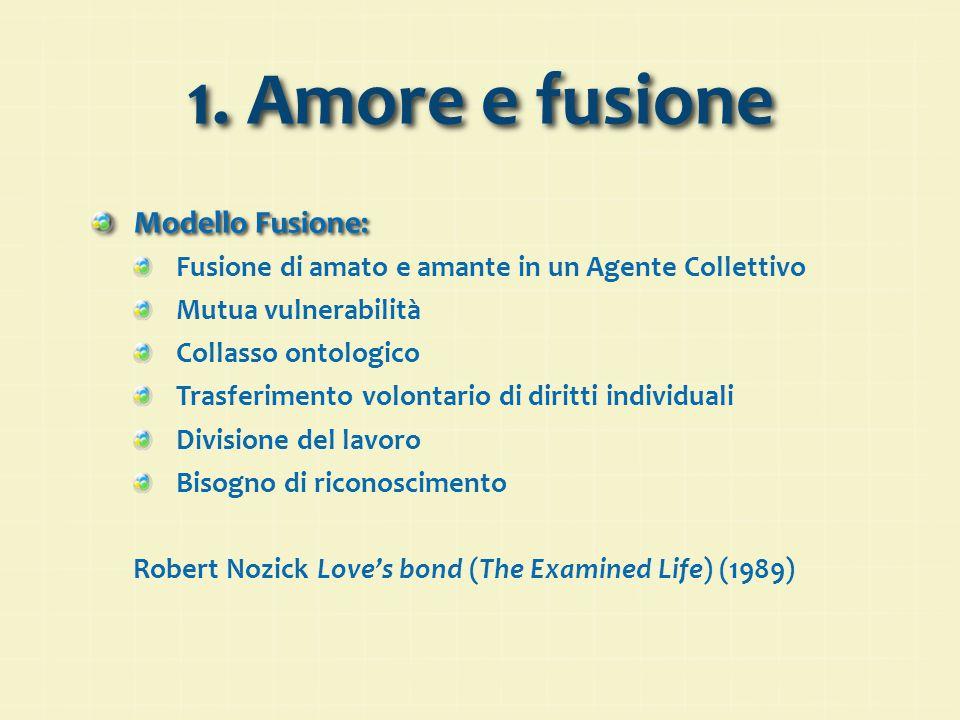 1. Amore e fusione Modello Fusione: Fusione di amato e amante in un Agente Collettivo Mutua vulnerabilità Collasso ontologico Trasferimento volontario