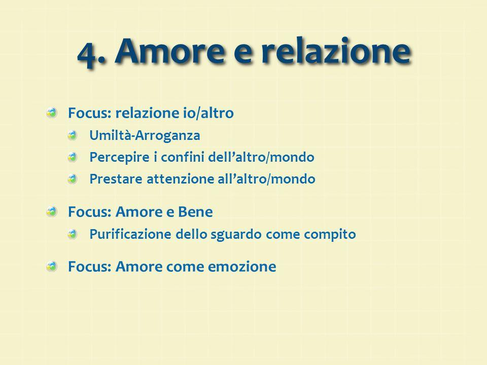 4. Amore e relazione Focus: relazione io/altro Umiltà-Arroganza Percepire i confini dell'altro/mondo Prestare attenzione all'altro/mondo Focus: Amore