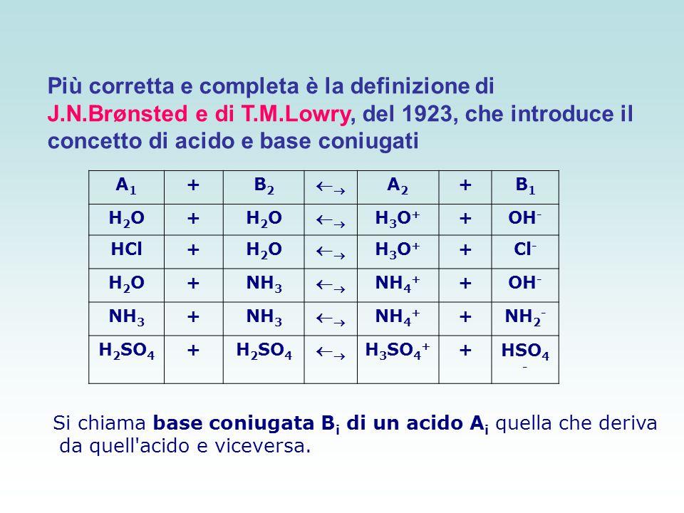 Si chiama base coniugata B i di un acido A i quella che deriva da quell'acido e viceversa. A1A1 +B2B2  A2A2 +B1B1 H2OH2O+H2OH2O  H3O+H3O+ +OH
