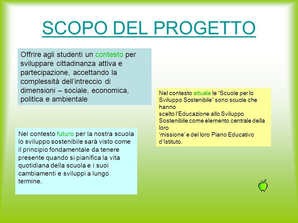 SCOPO DEL PROGETTO Offrire agli studenti un contesto per sviluppare cittadinanza attiva e partecipazione, accettando la complessità dell'intreccio di