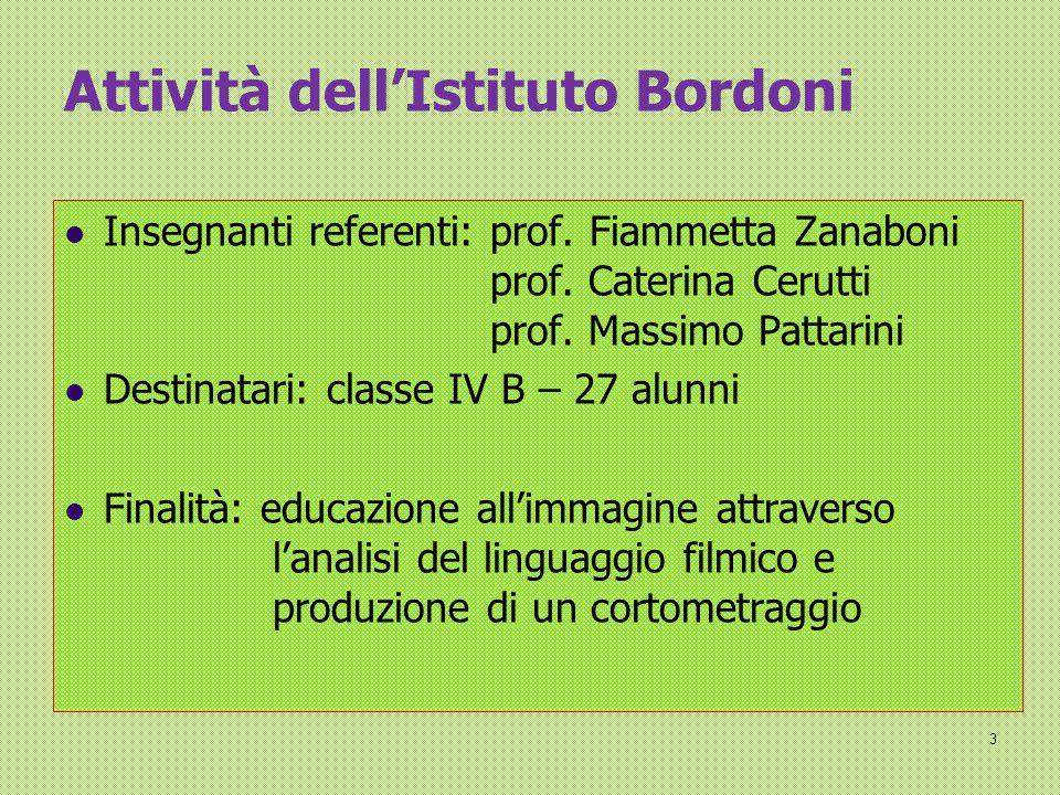 Attività dell'Istituto Bordoni Insegnanti referenti: prof. Fiammetta Zanaboni prof. Caterina Cerutti prof. Massimo Pattarini Destinatari: classe IV B