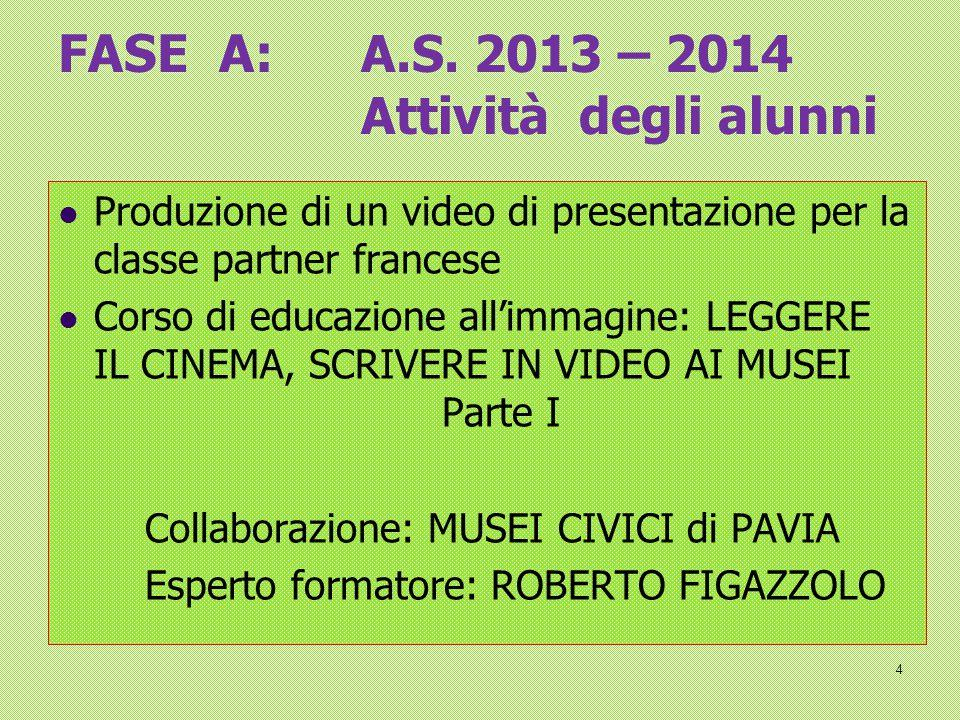 FASE A: A.S. 2013 – 2014 Attività degli alunni Produzione di un video di presentazione per la classe partner francese Corso di educazione all'immagine
