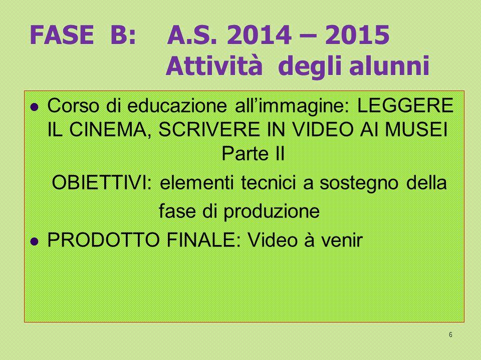 FASE B: A.S. 2014 – 2015 Attività degli alunni Corso di educazione all'immagine: LEGGERE IL CINEMA, SCRIVERE IN VIDEO AI MUSEI Parte II OBIETTIVI: ele