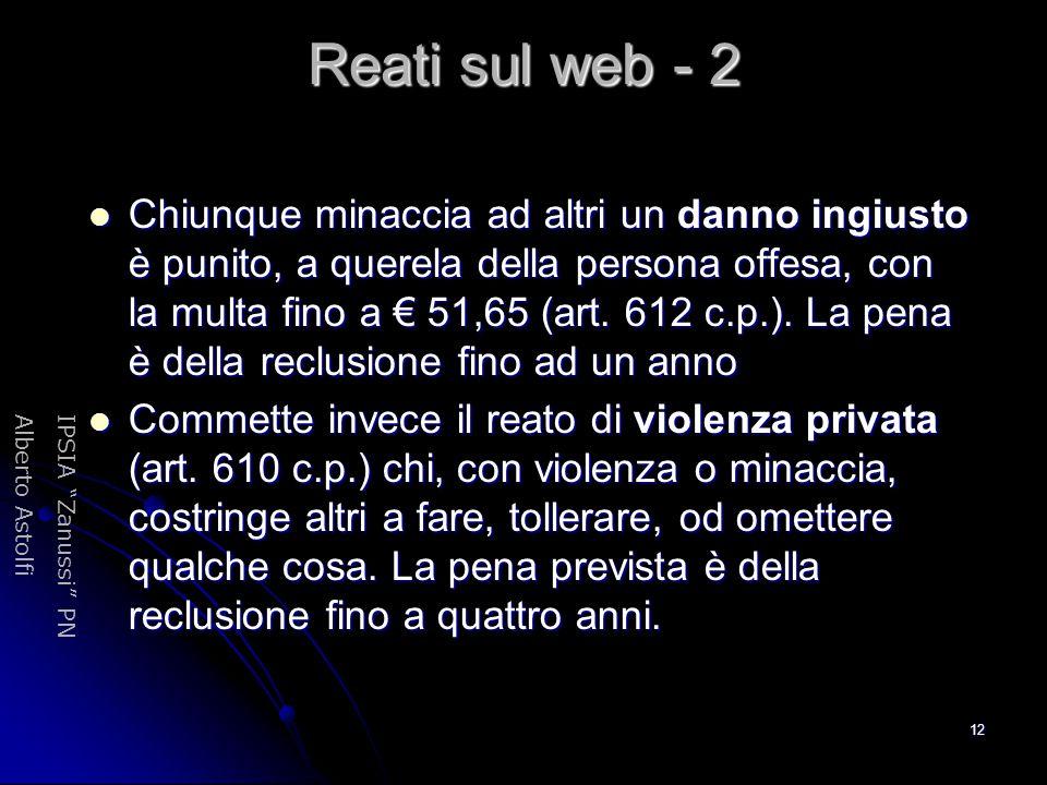 """IPSIA """"Zanussi"""" PNAlberto Astolfi 12 Reati sul web - 2 Chiunque minaccia ad altri un danno ingiusto è punito, a querela della persona offesa, con la m"""