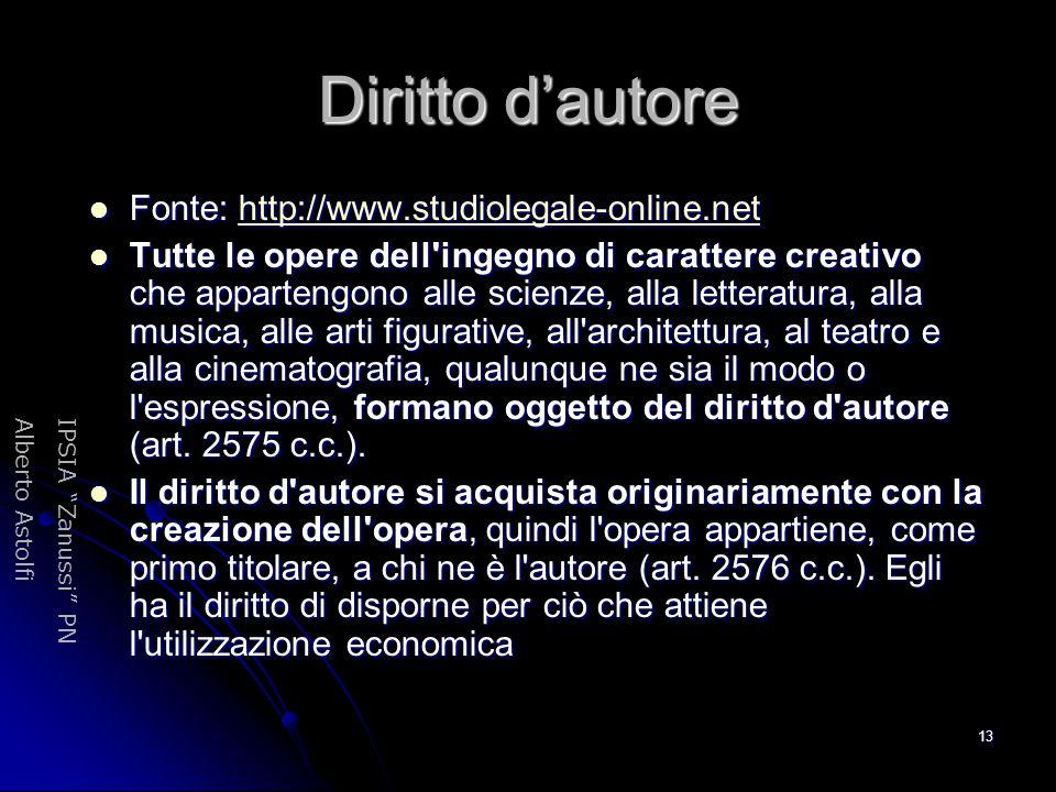 "IPSIA ""Zanussi"" PNAlberto Astolfi 13 Diritto d'autore Fonte: http://www.studiolegale-online.net Fonte: http://www.studiolegale-online.nethttp://www.st"