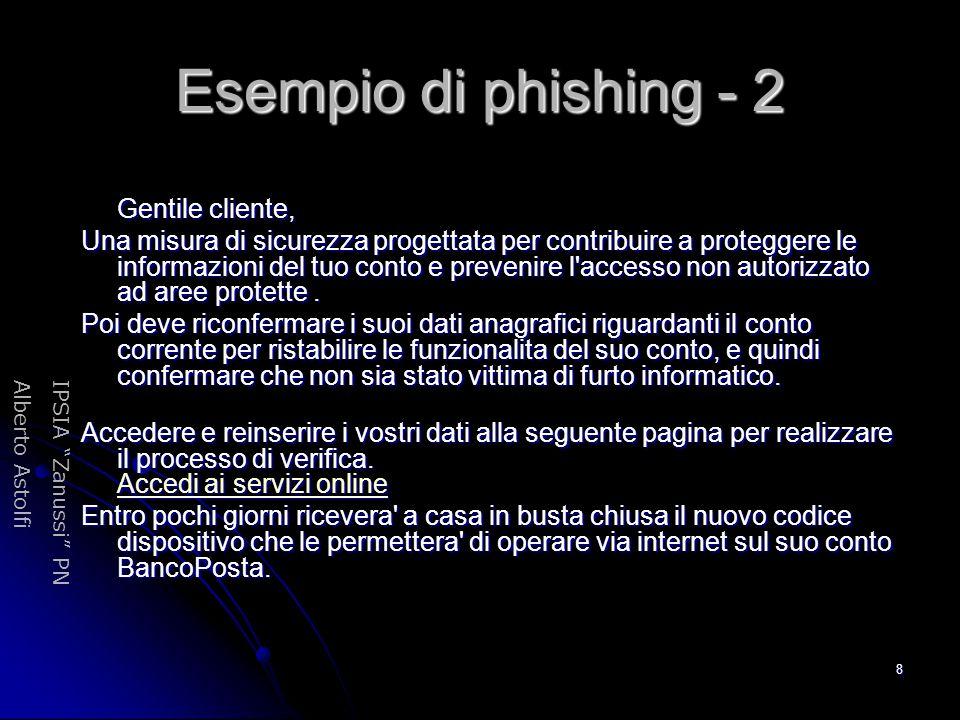 """IPSIA """"Zanussi"""" PNAlberto Astolfi 8 Esempio di phishing - 2 Gentile cliente, Gentile cliente, Una misura di sicurezza progettata per contribuire a pro"""
