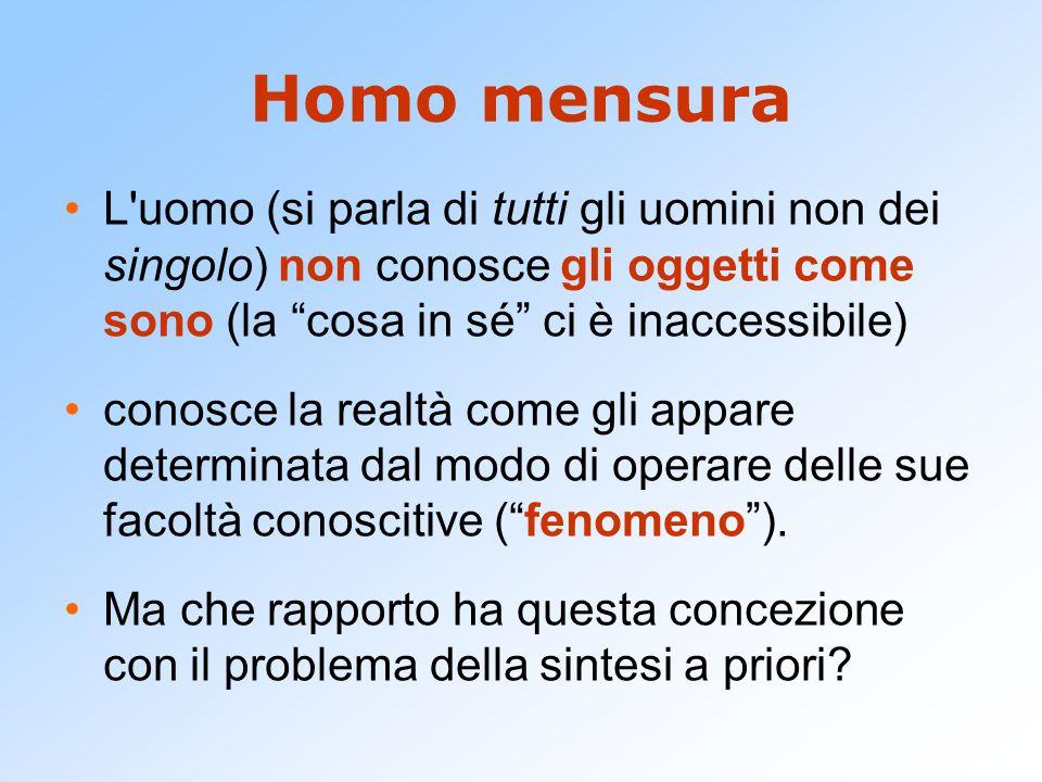 """Homo mensura L'uomo (si parla di tutti gli uomini non dei singolo) non conosce gli oggetti come sono (la """"cosa in sé"""" ci è inaccessibile) conosce la r"""