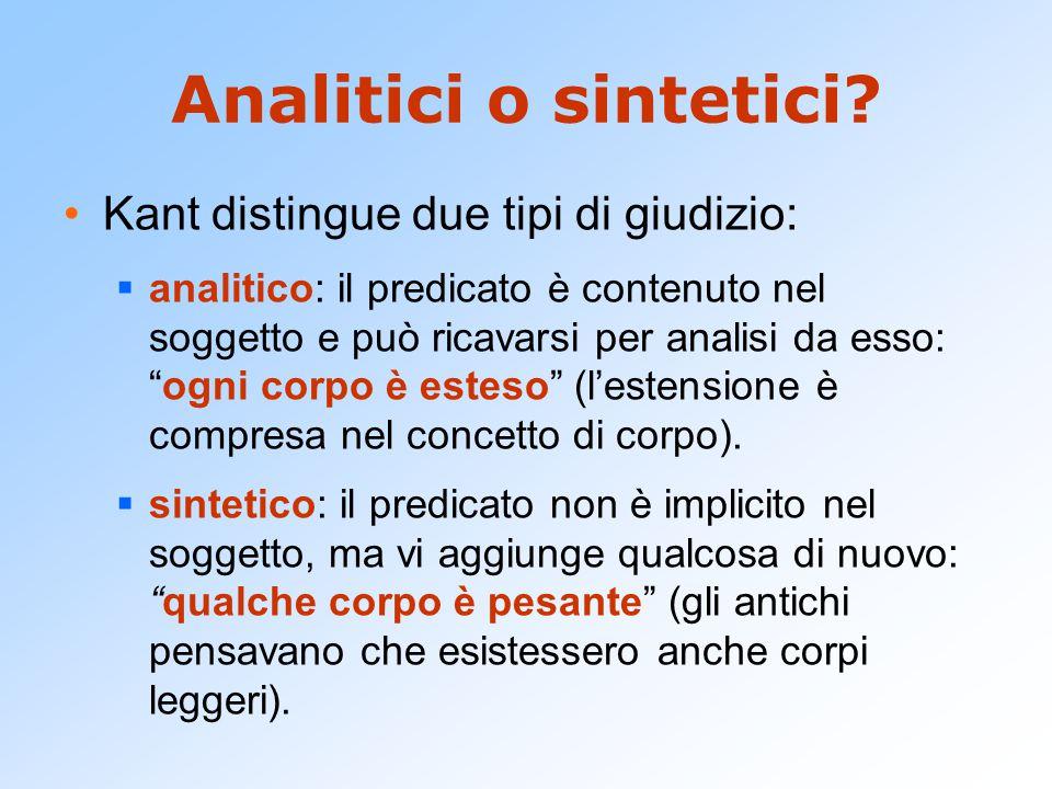 """Analitici o sintetici? Kant distingue due tipi di giudizio:  analitico: il predicato è contenuto nel soggetto e può ricavarsi per analisi da esso: """"o"""