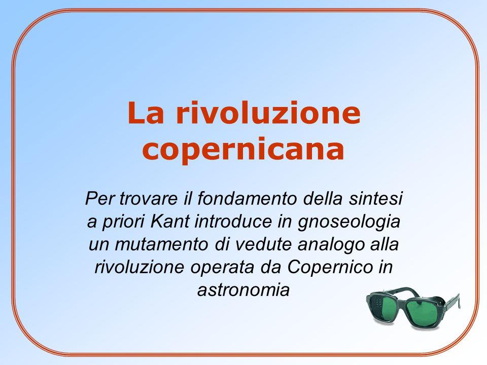 La rivoluzione copernicana Per trovare il fondamento della sintesi a priori Kant introduce in gnoseologia un mutamento di vedute analogo alla rivoluzi