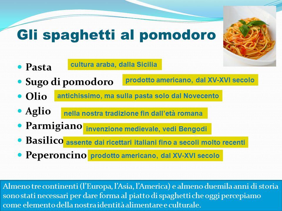 Pasta Sugo di pomodoro Olio Aglio Parmigiano Basilico Peperoncino nella nostra tradizione fin dall'età romana invenzione medievale, vedi Bengodi cultu