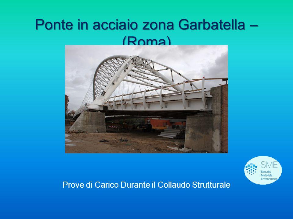 Ponte in acciaio zona Garbatella – (Roma) Prove di Carico Durante il Collaudo Strutturale