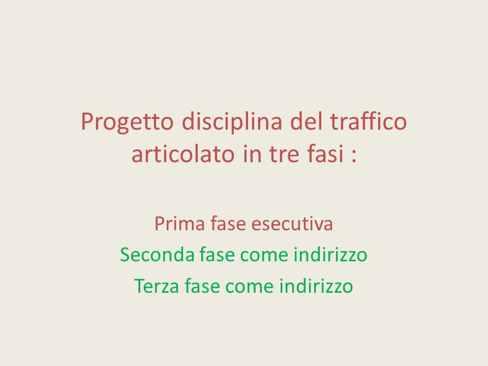 Progetto disciplina del traffico articolato in tre fasi : Prima fase esecutiva Seconda fase come indirizzo Terza fase come indirizzo