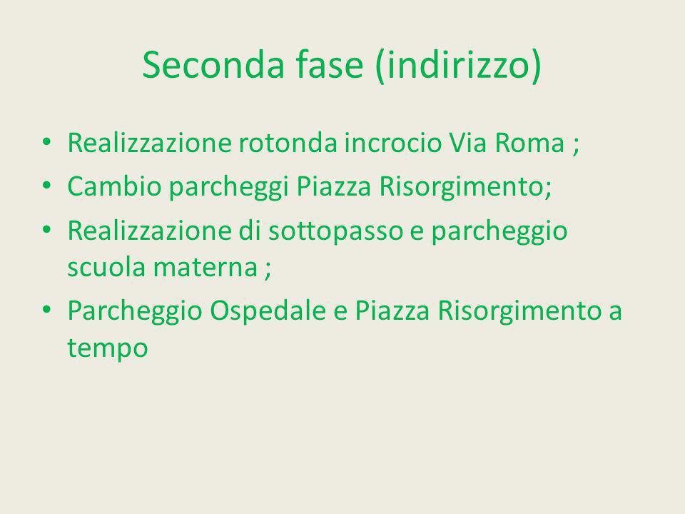 Seconda fase (indirizzo) Realizzazione rotonda incrocio Via Roma ; Cambio parcheggi Piazza Risorgimento; Realizzazione di sottopasso e parcheggio scuo