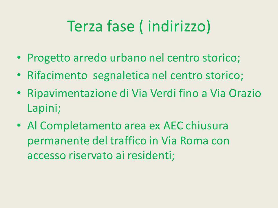 Terza fase ( indirizzo) Progetto arredo urbano nel centro storico; Rifacimento segnaletica nel centro storico; Ripavimentazione di Via Verdi fino a Vi