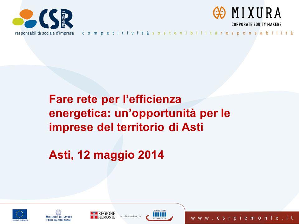 Fare rete per l'efficienza energetica: un'opportunità per le imprese del territorio di Asti Asti, 12 maggio 2014