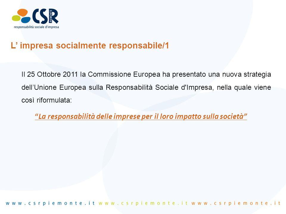 L' impresa socialmente responsabile/1 Il 25 Ottobre 2011 la Commissione Europea ha presentato una nuova strategia dell'Unione Europea sulla Responsabi
